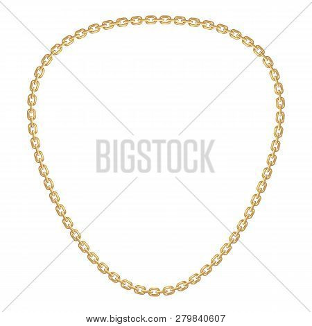Chunky Golden Chain Icon. Cartoon Of Chunky Golden Chain Vector Icon For Web Design Isolated On Whit