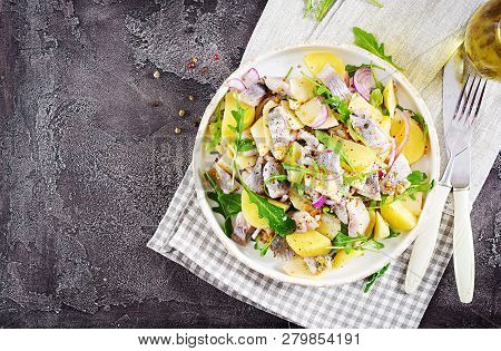 Traditional  Salad Of Salted Herring Fillet, Fresh Apples,  Red Onion  And Potatoes. Kosher Food. Sc