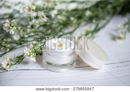Cosmetic Nature Skincare Concept. Organic Natural Beauty Product. Alternative Medicine Made From Her