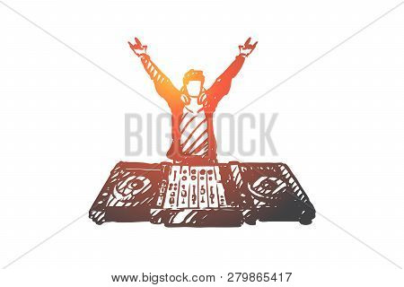 Dj, Music, Club, Disco, Party Concept. Hand Drawn Dj In Nightclub Concept Sketch. Isolated Vector Il