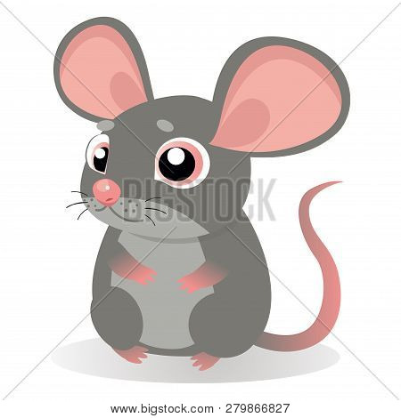 Lonely Gentle Mouse. Fancy Little Mice Vector Illustration. Cute Sitting Mouse In Cartoon Style. Gre