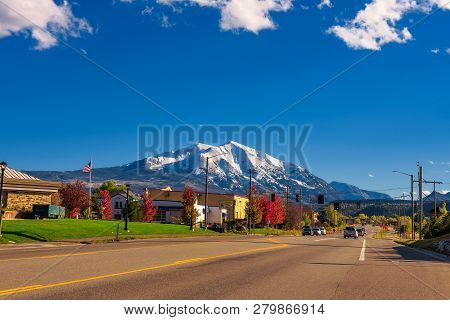 Carbondale, Colorado, Usa - October 13, 2018 : Town Of Carbondale Facing Mount Sopris In The Northwe