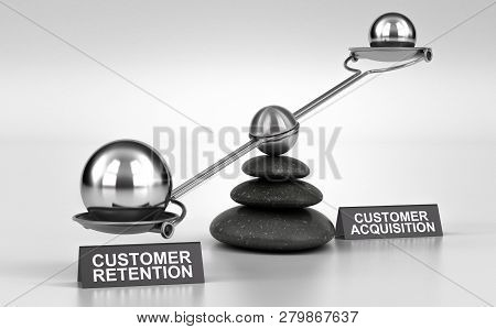 3d Illustration Of A Conceptual Scale Made With Pebbles And Two Possibilities Customer Retention Or