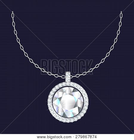 Diamond Pendant Necklace Icon. Realistic Illustration Of Diamond Pendant Necklace Vector Icon For We