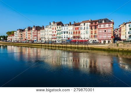 Bayonne, France - September 19, 2018: Colorful Houses At The Nive River Embankment In Bayonne Town I