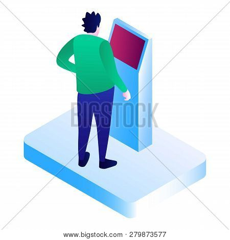 Man At Pay Machine Icon. Isometric Of Man At Pay Machine Vector Icon For Web Design Isolated On Whit