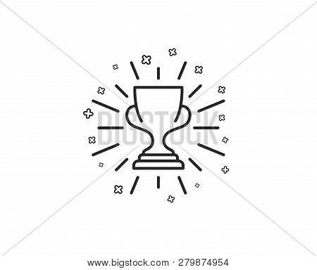 Award Cup Line Icon. Winner Trophy Symbol. Sports Achievement Sign. Geometric Shapes. Random Cross E