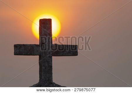 Holy Cross And Sunset At Anjuna Beach, North Goa, India