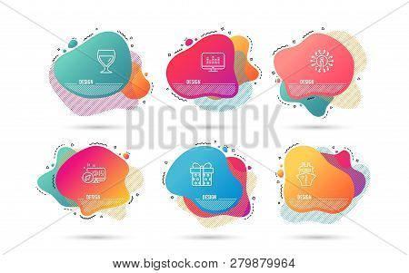 Dynamic Liquid Shapes. Set Of Gift Box, Ship And Wine Glass Icons. Music Making Sign. Present Packag