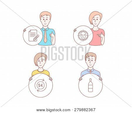 People Hand Drawn Style. Set Of Face Detect, Money Currency And Article Icons. Wine Bottle Sign. Sel