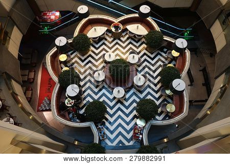 Genting Highlands, Malaysia- Dec 03, 2018: Top Down View Of A Floating Eatery At Genting Highlands,
