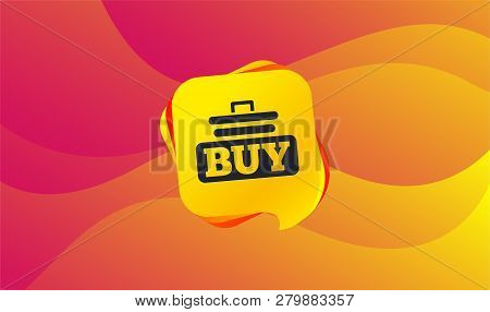Buy Sign Icon. Online Buying Cart Button. Wave Background. Abstract Shopping Banner. Template For De