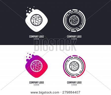 Logotype Concept. Circuit Board Sign Icon. Technology Scheme Circle Symbol. Logo Design. Colorful Bu