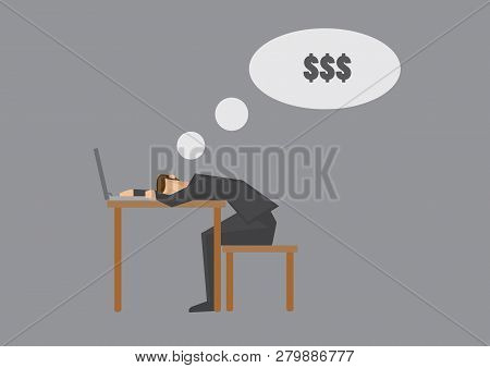 Side View Of Cartoon Man Falling Asleep On Desk With Laptop Computer And Dreaming Of Money. Creative