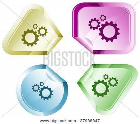 Gears. Vector sticker.