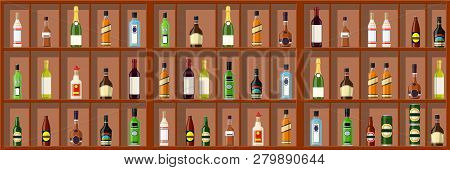 Alcohol Drinks Collection. Bottles On Shelf. Vodka Champagne Wine Whiskey Beer Brandy Tequila Cognac