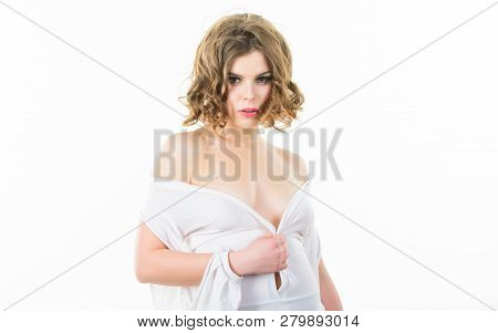 Woman elegant lady with retro hairstyle and makeup undressing white dress with seductive decollete. Girl attractive seductive model on white background. Seductive girl take off clothes. Impress him poster