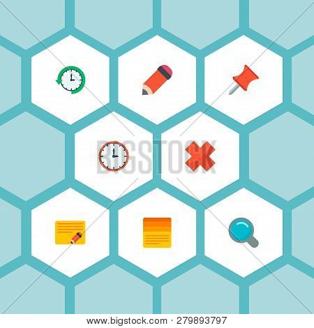 Set Of Task Manager Icons Flat Style Symbols With Pin, Edit Task, Search And Other Icons For Your We