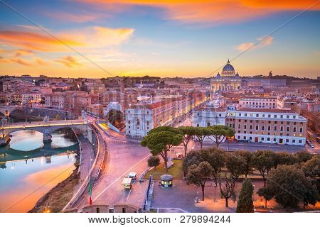 Rome, Vatican City. Aerial Cityscape Image Of Vatican City With The Saint Peter Basilica, Rome, Ital
