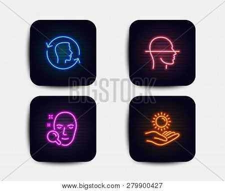 Neon Glow Lights. Set Of Face Id, Face Scanning And Sun Protection Icons. Identification System, Fac