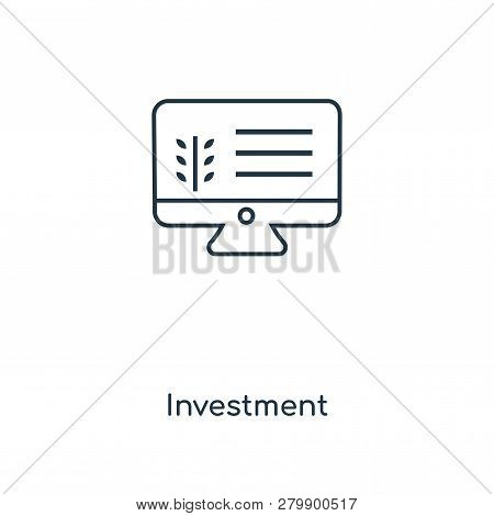 Investment Icon In Trendy Design Style. Investment Icon Isolated On White Background. Investment Vec
