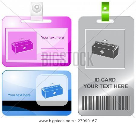 Medical suitcase. Vector id cards.