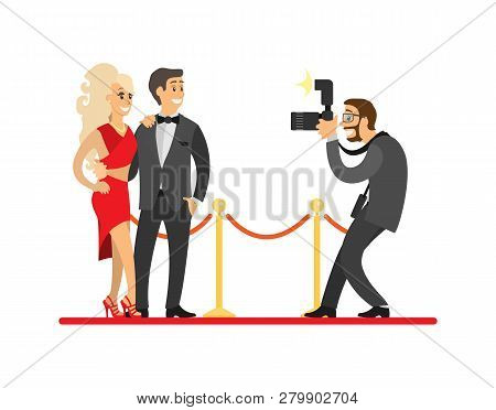 Paparazzi Taking Photo Of Celebrities Couple On Red Carpet. Movie Stars Or Singers And Photographer