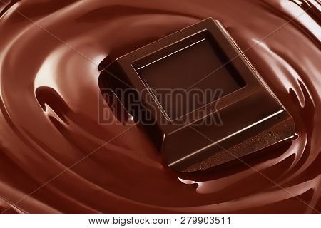 Swirl Of Melted Chocolate With Pieces Of Chocolate Bar. Dark Chocolate Packaging Design, Advertising