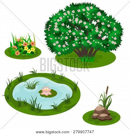 Tile Set For Forest Or Garden Landscape Design. Bush In Blossom, Pond With Lily, Flowers In Grass, S