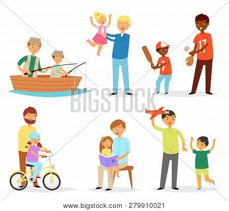Father And Child Vector Dad And Kids Daughter Son Playing Fishing Together Illustration Fathers Day