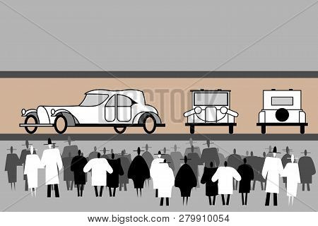 People crowd stand at an aristocratic retro cars exhibition. Vintage elegant car. Front, rear, side view. Black and white human silhouettes. The crowd is at a retro car show. Vector flat illustration. poster