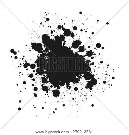 Black Monochrome Ink Or Paint Blots Grunge Background. Texture Vector. Dust Overlay Distress Grain.
