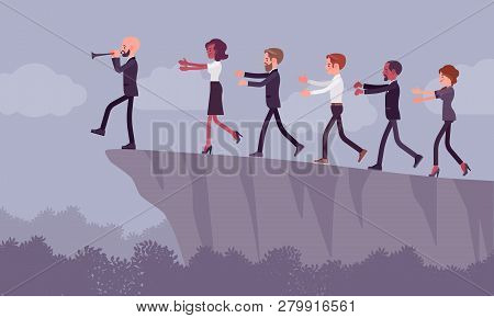 Blind Faith Followers Moving To Danger. Group Of People Come After A Person With A Flute, Subgroup O