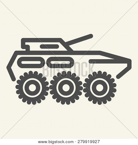 Armored Troop-carrier Line Icon. Armored Vehicle Vector Illustration Isolated On White. Artillery Ou
