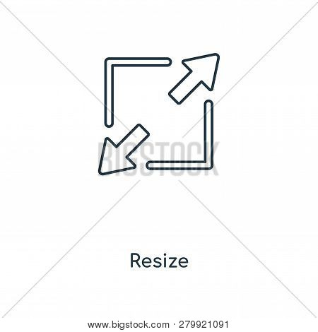Resize Icon In Trendy Design Style. Resize Icon Isolated On White Background. Resize Vector Icon Sim