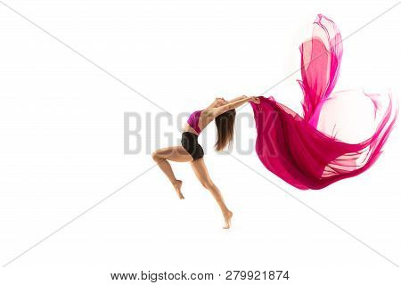 Graceful Ballet Dancer Or Classic Ballerina Dancing Isolated On White Studio. Woman Dancing With Pin