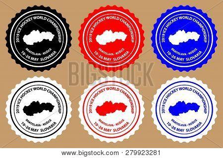 2019 Ice Hockey World Championship Sticker (black, White, Red Blue)
