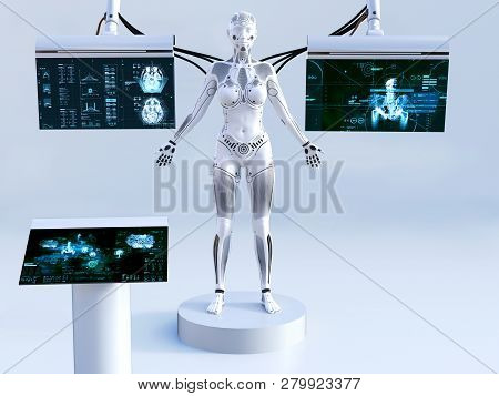 3d Rendering Of A Robot Woman Standing With Closed Eyes. She Is Connected To Screens For Scanning Or