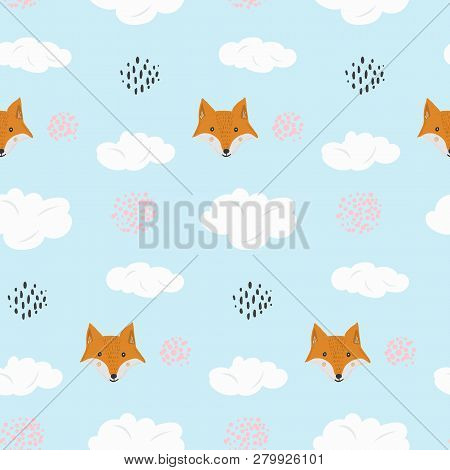Cute Seamless Pattern With Cartoon Orange Fox And Dotted Circles In Blue Sky Background. Funny Hand