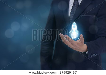 Start Up Concept, Business Man Hand Holding The Start Up New Business Icon For New Team , New Projec