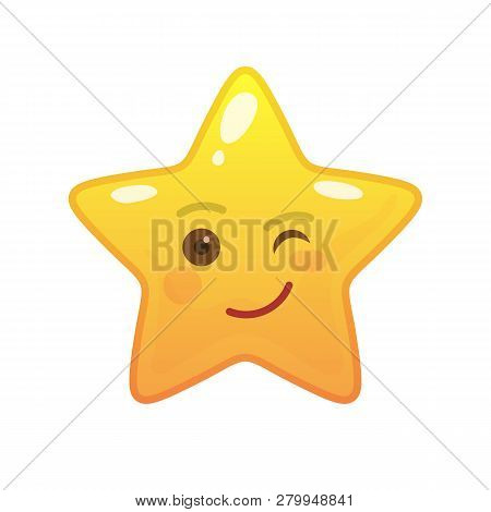 Playful Star Shaped Comic Emoticon. Winking Face With Facial Expression. Blinking Emoji Symbol For I