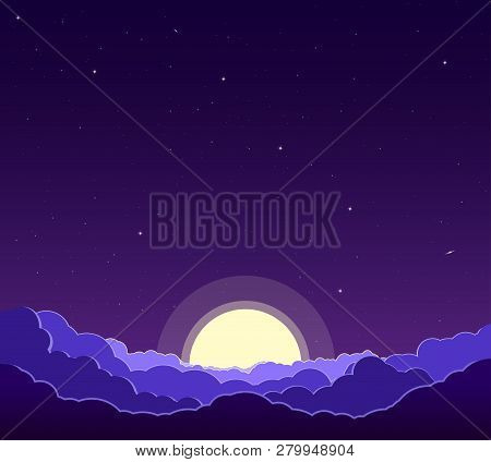 Purple Night Sky With Stars, Clouds And Moon. Astrology, Religion, Astronomy. Landscape Of The Galax