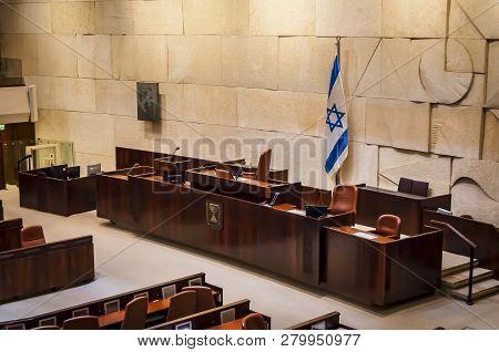 Jerusalem, Israel. April 3, 2016. The Empty Plenary Hall Of The Israeli Parliament Knesset. Parliame