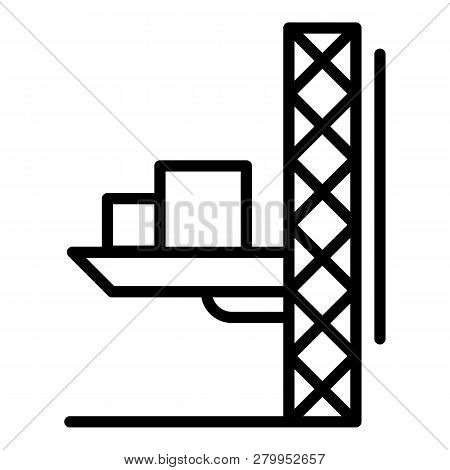 Lift crane platform icon. Outline illustration of lift crane platform icon for web design isolated on white background poster