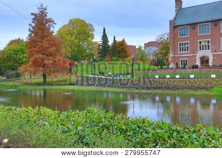 COLUMBUS, OHIO / UNITED STATES - NOVEMBER 11,2018:  The renovation of the historic Mirror Lake District at The Ohio State University was completed in August 2018.  This is an iconic campus landmark .