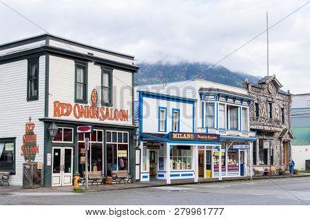Skagway, Alaska - September 28, 2017: Red Onion Saloon (a Restaurant, Bar And Brothel Museum), Camp