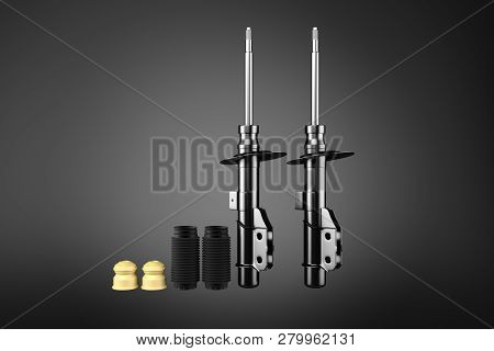 3d Rendering. Passenger Car Shock Absorber With Dust Cap And Buffer Mounting, New Auto Parts, Spare