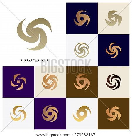 Set Of Vortex Logo Design Concept Vector. Hurricane Icon. Tornado Logo Symbol