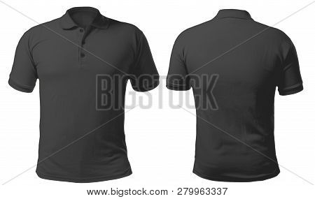 Blank Collared Shirt Mock Up Template, Front And Back View, Isolated On White, Plain Black T-shirt M