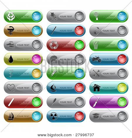 Vector set of internet buttons. 24 elements.